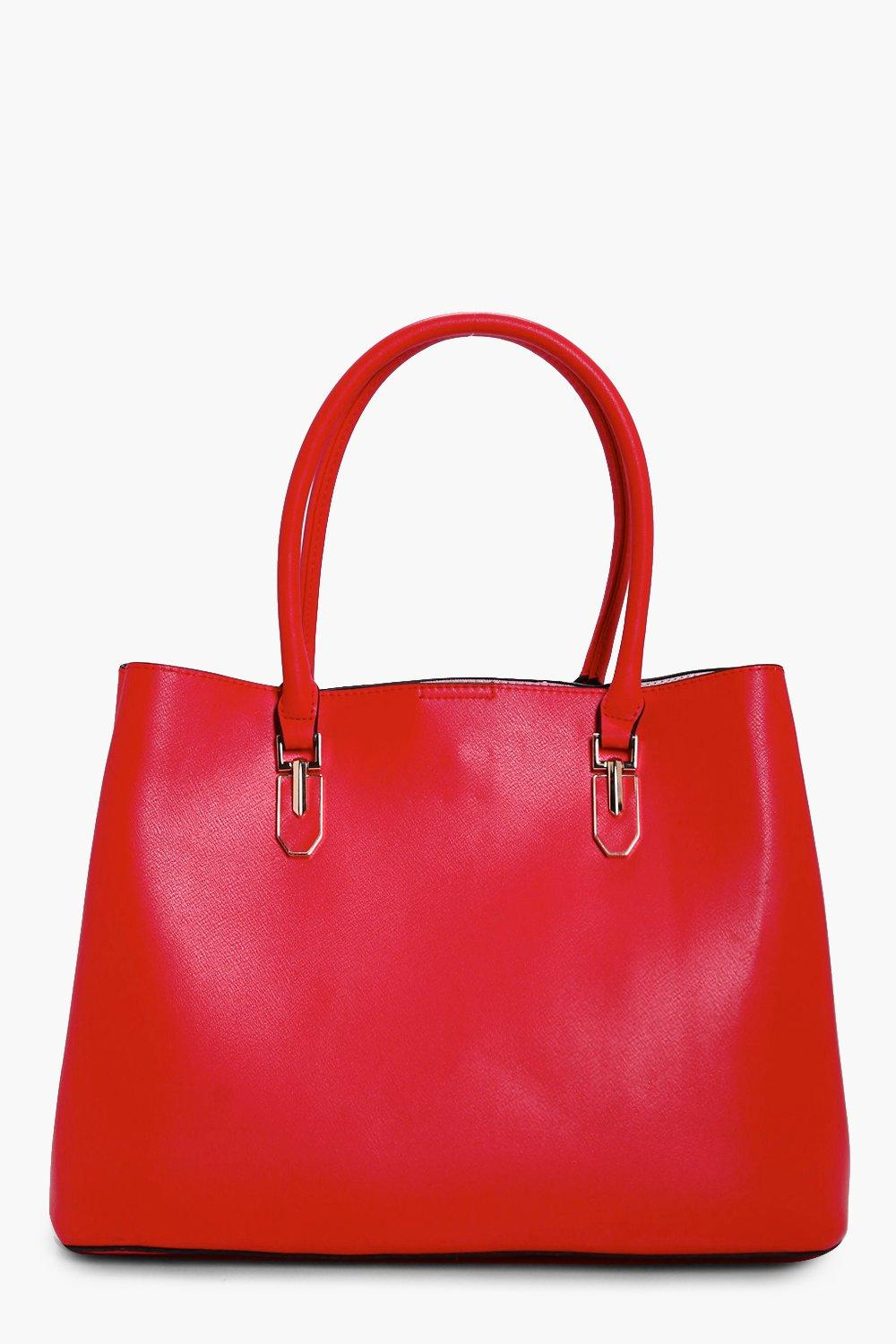 Metal Detail Tote - red - Hannah Metal Detail Tote