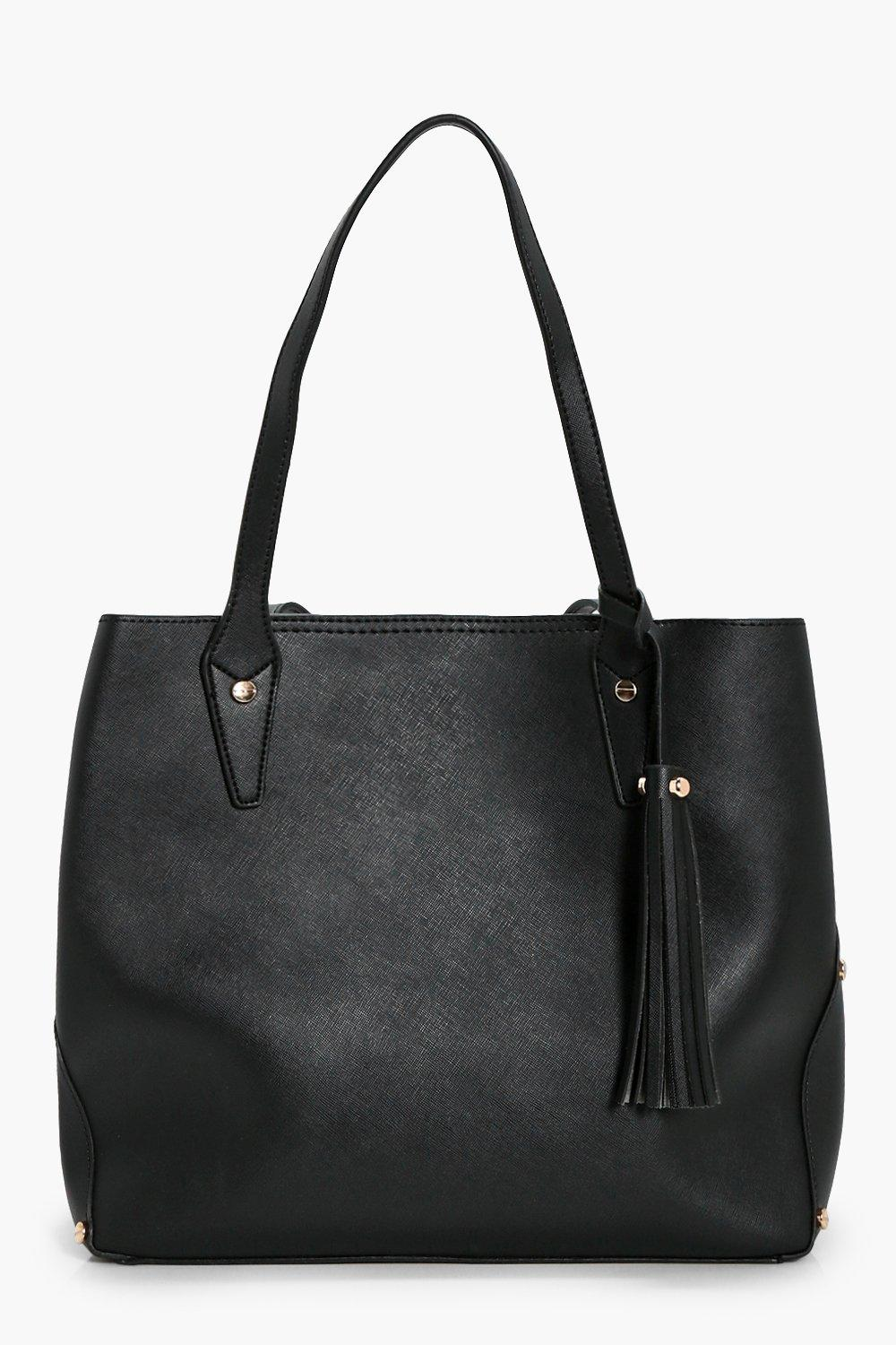 Crosshatch Multiway Tassel Tote Bag - black - Jane