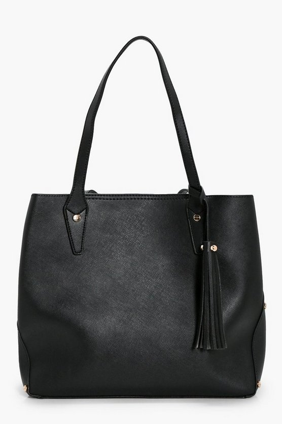 Janey Crosshatch Multiway Tassel Tote Bag