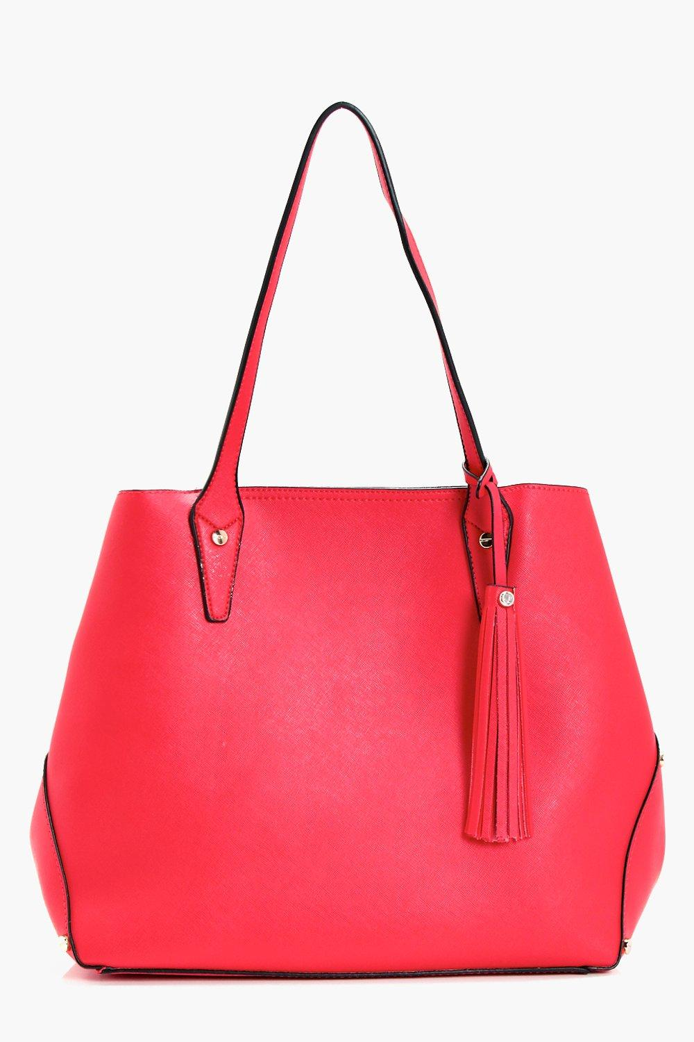 Crosshatch Multiway Tassel Tote Bag - red - Janey