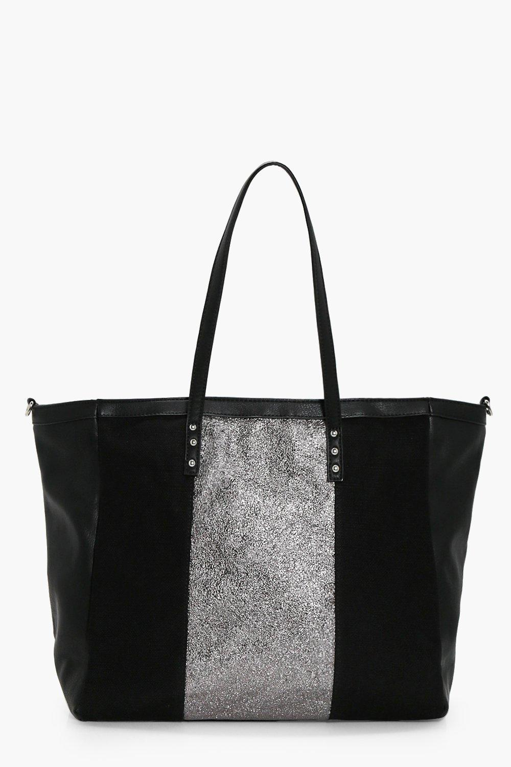Panel Shoppper Tote - black - Metallic Panel Shopp