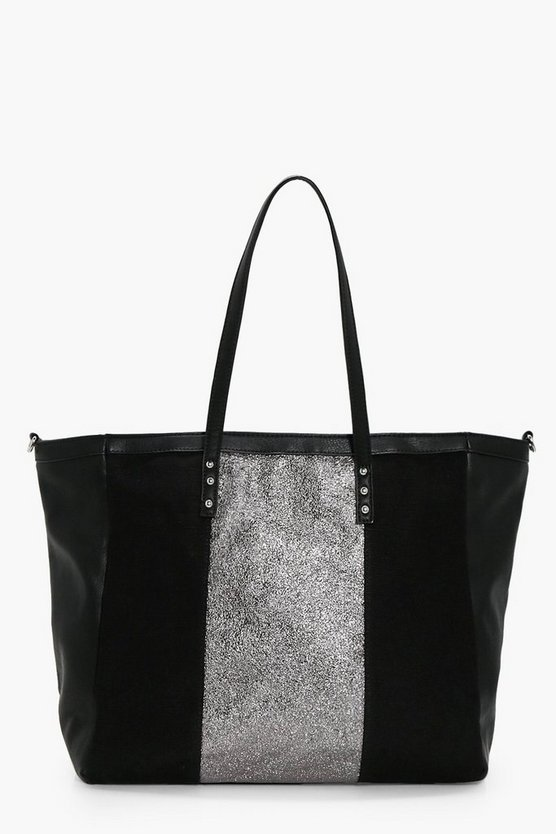 Metallic Panel Shopper Tote
