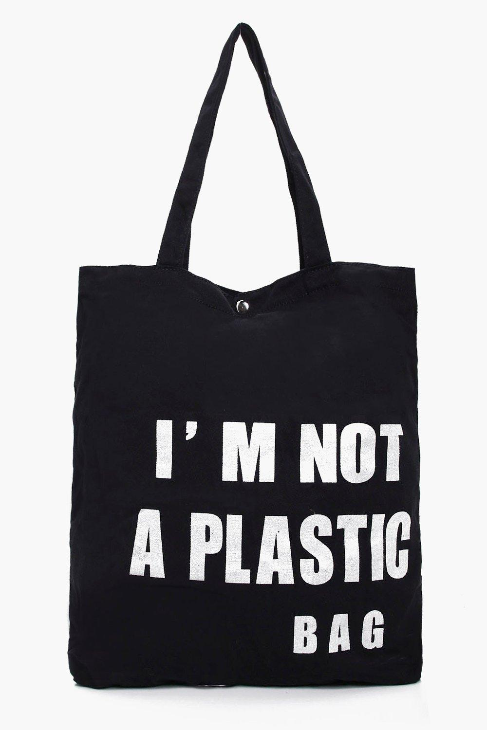 Slogan Canvas Shopper Bag - black - Anne Slogan Ca