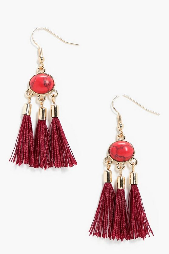 Kirsten Stone & Tassel Earrings