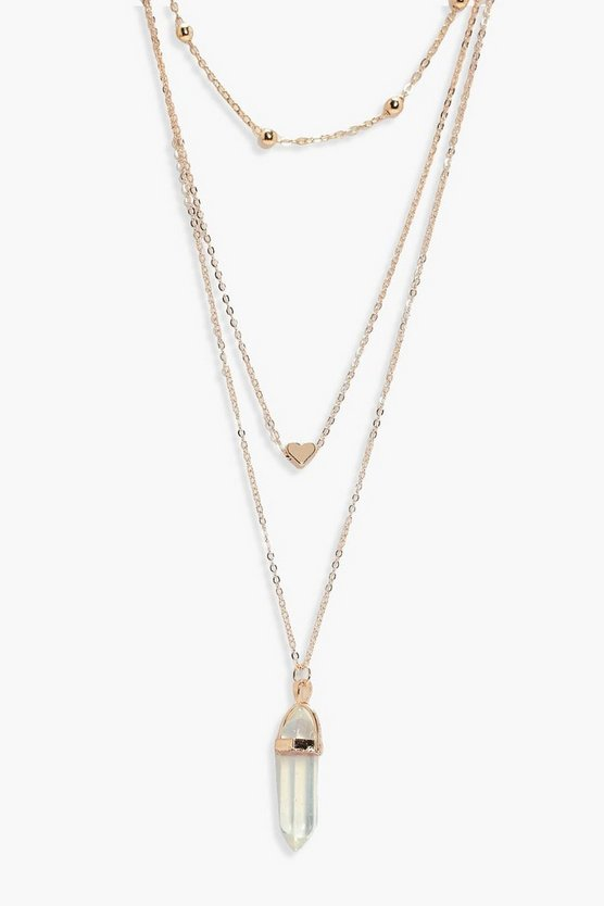 Alison Crystal and Heart Layered Necklace
