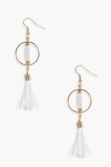 White Simply Hoop Tassel Earrings