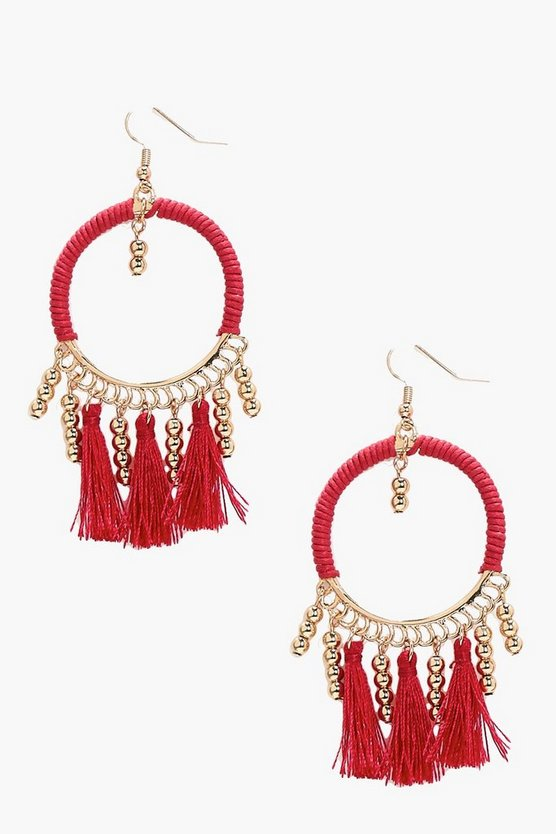 Lucy Bead and Tassel Hoop Earring