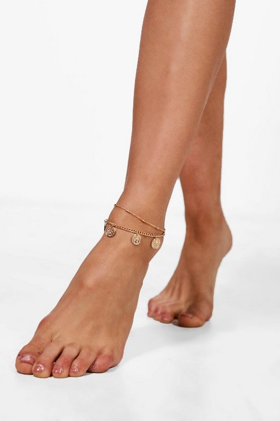 Nelly Coin Detail Layered Anklet