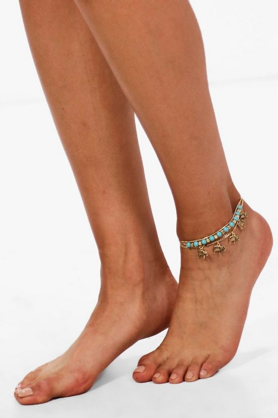 Paige Elephant Layered Anklet