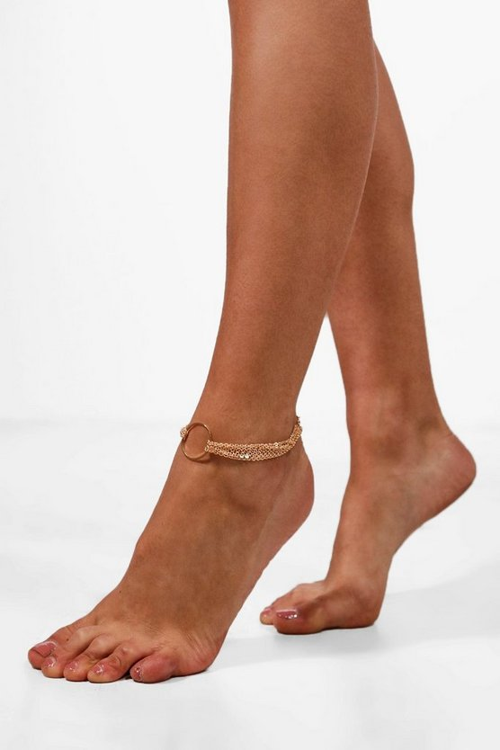 Hannah Circle Detail Chain Anklet