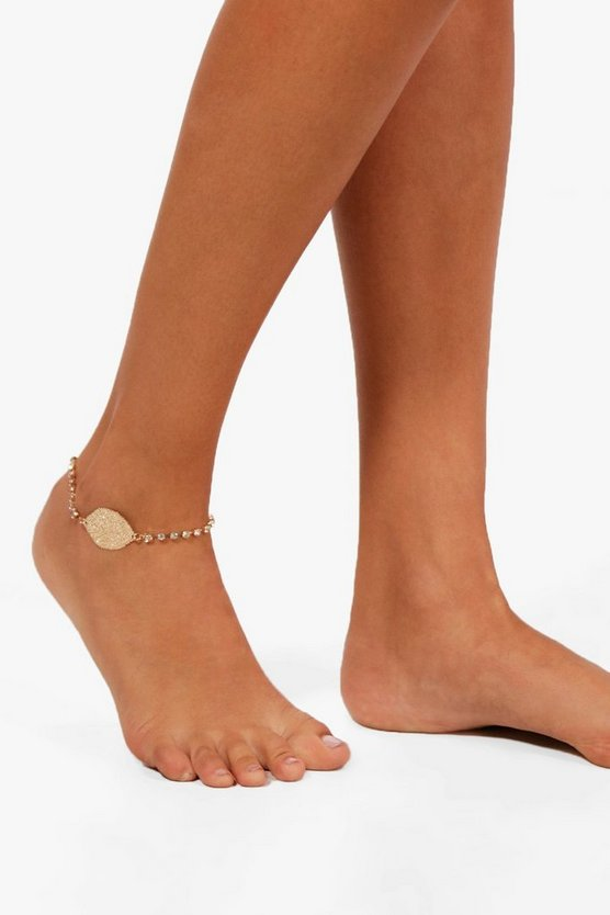 Jane Leaf Diamante Detail Anklet