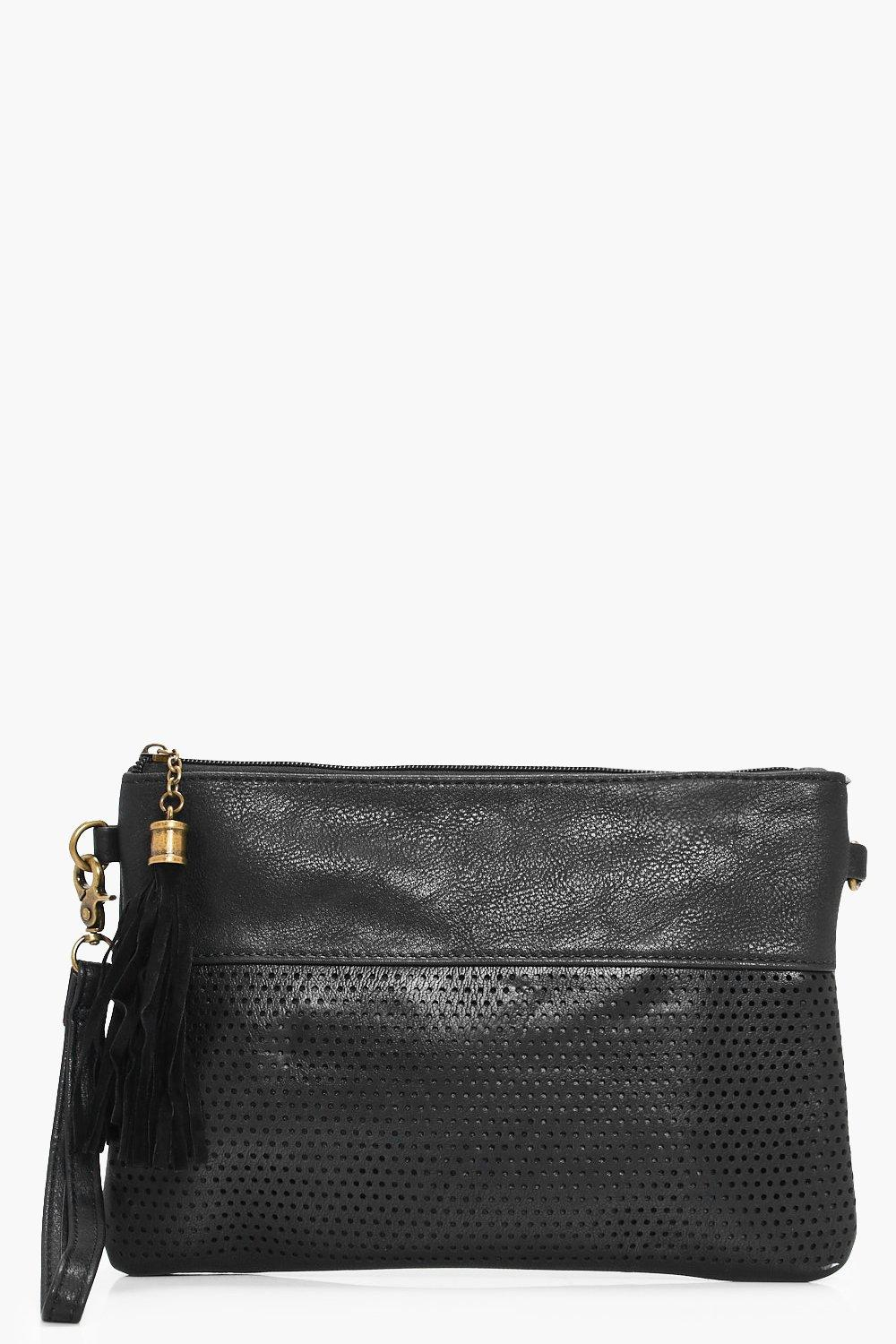Perforated Zip Top Clutch - black - Holly Perforat