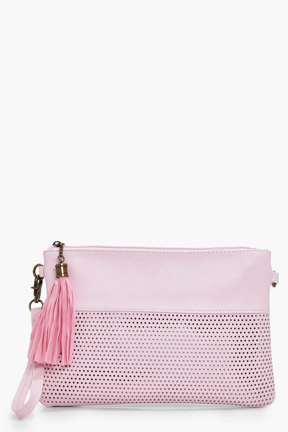 Perforated Zip Top Clutch - pink - Holly Perforate