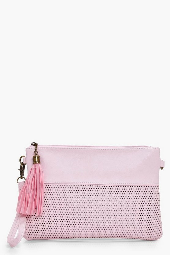 Holly Perforated Zip Top Clutch