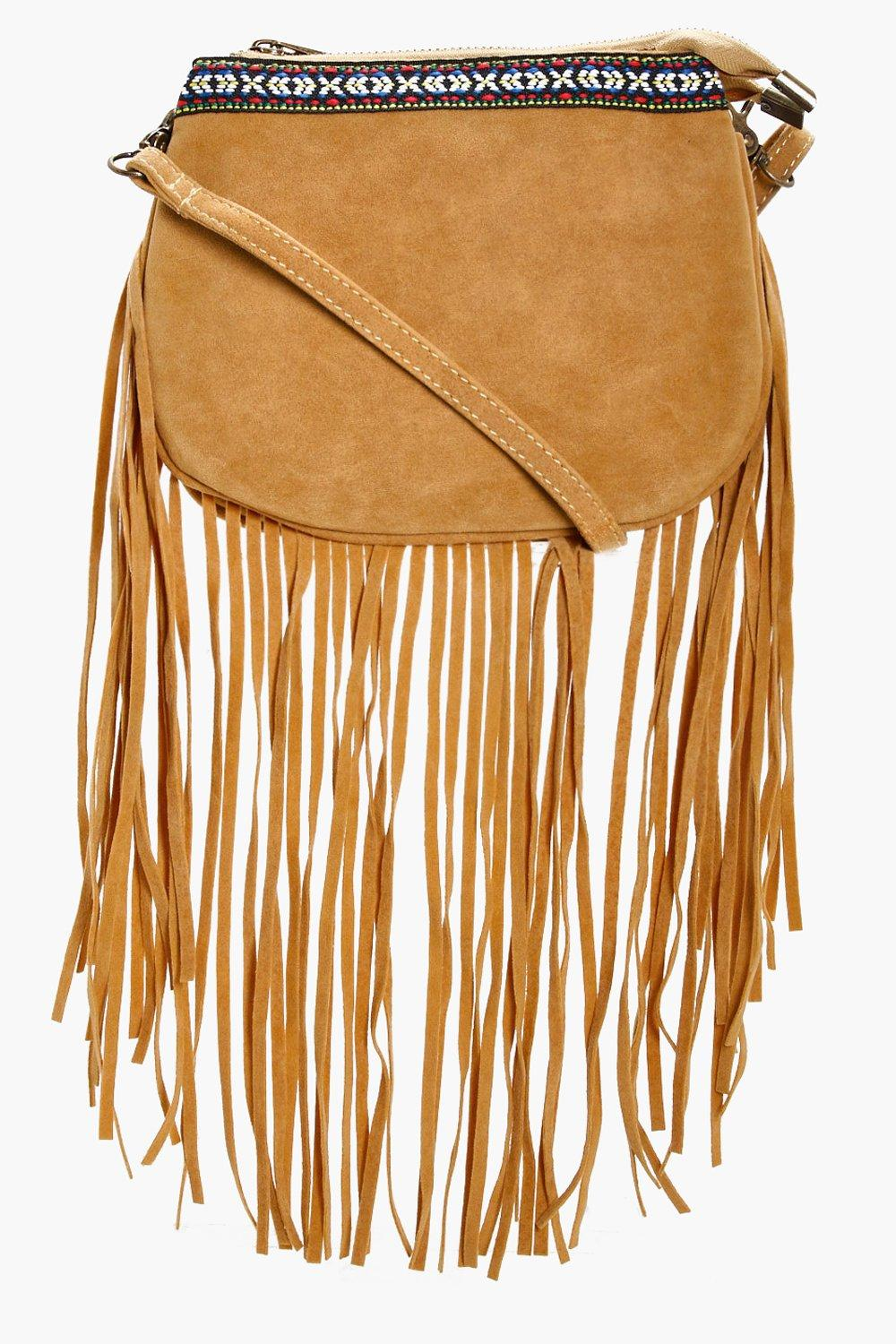 Aztec Trim Fringe Cross Body - mustard - Lianne Az