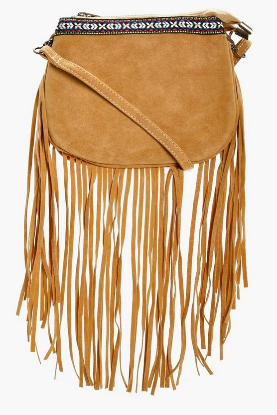Lianne Aztec Trim Fringe Cross Body