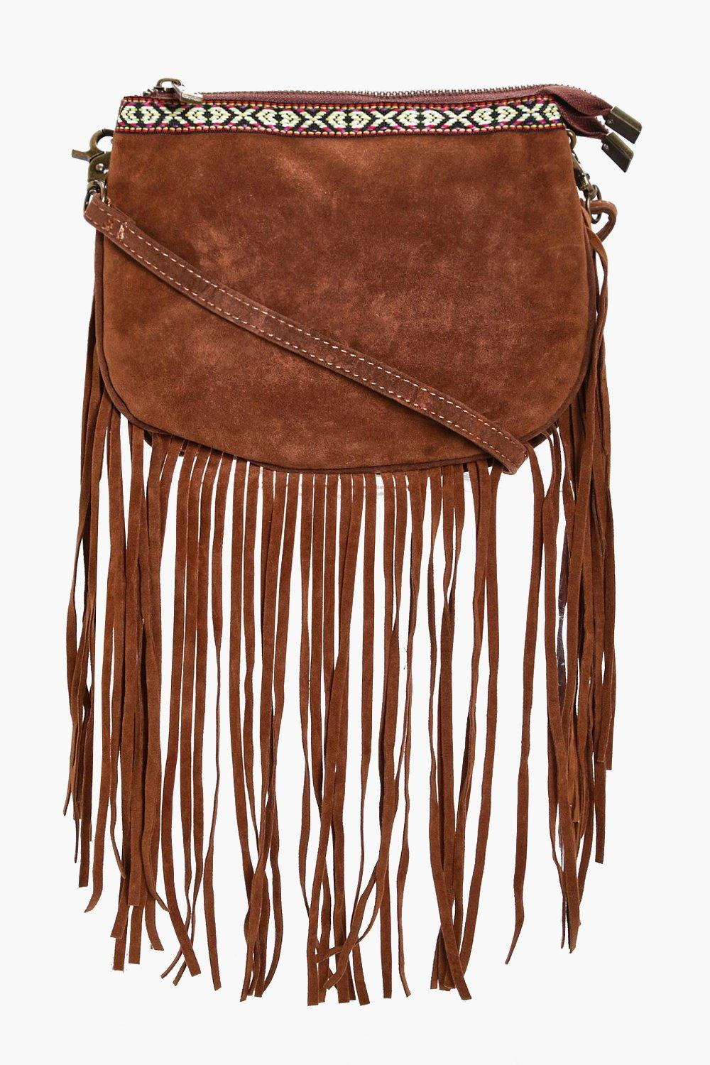 Aztec Trim Fringe Cross Body - tan - Lianne Aztec
