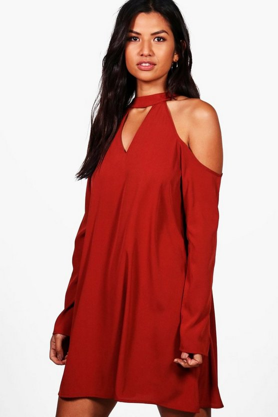 Charlotte Woven Cold Shoulder Cut Out Shift Dress