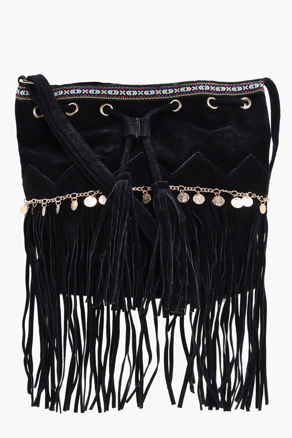 Aztec Coin Trim Tassel Buckle Bag - black - Katie