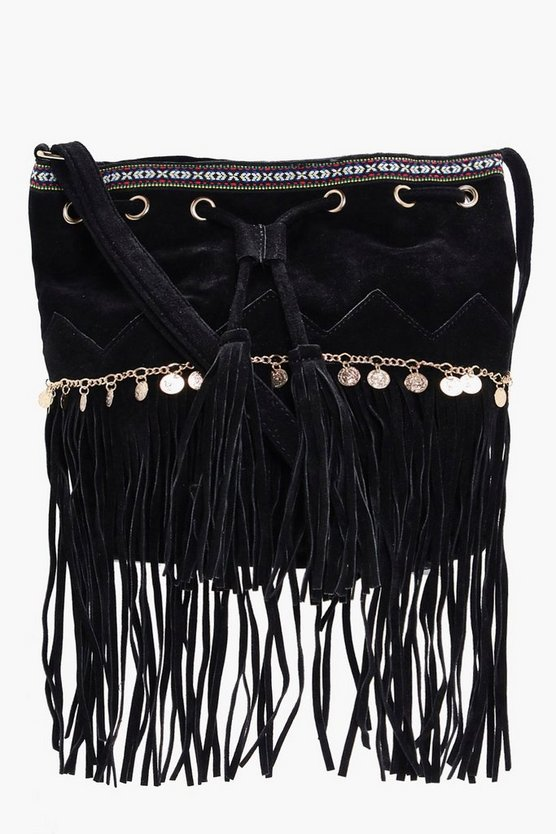 Katie Aztec Coin Trim Tassel Buckle Bag
