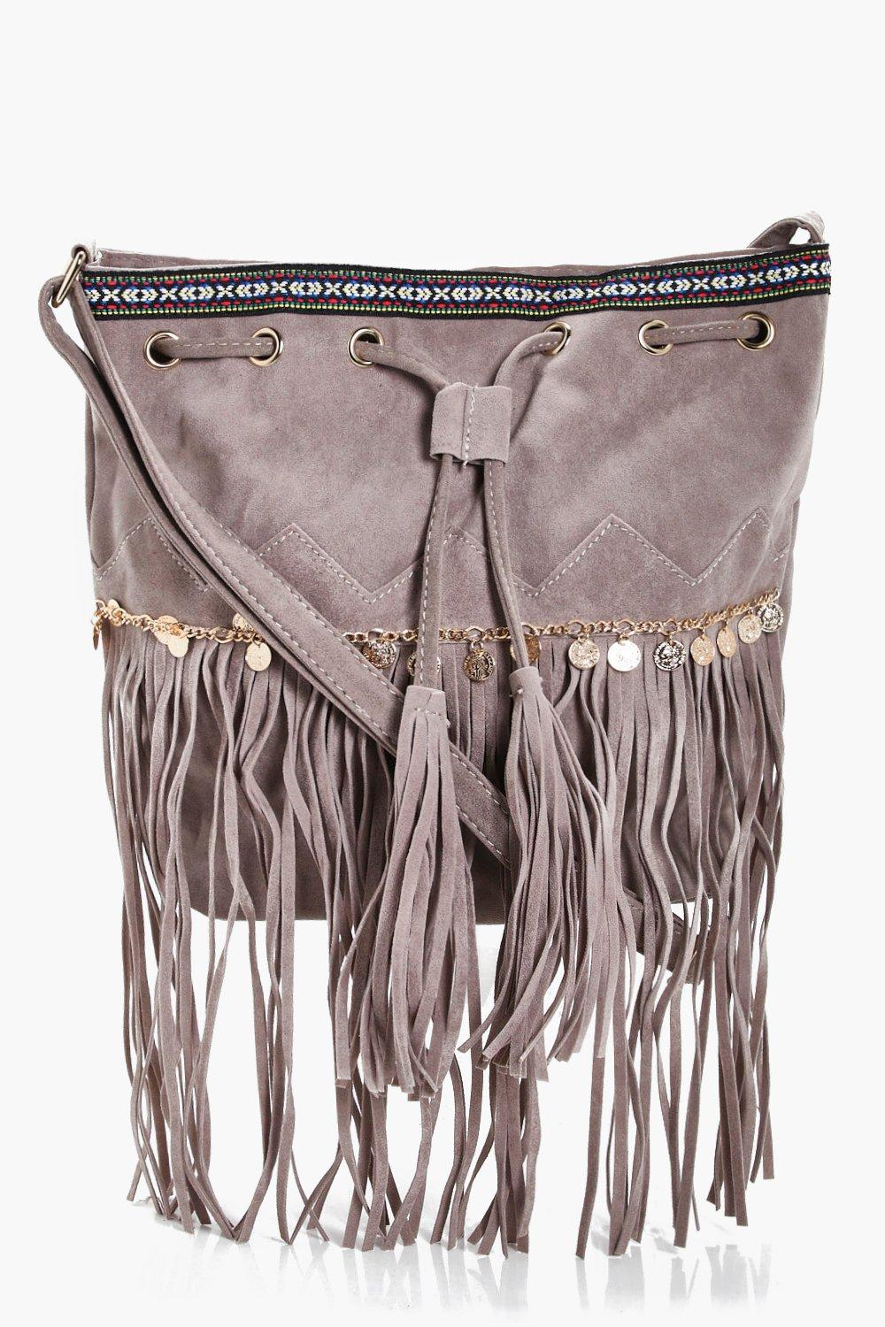 Aztec Coin Trim Tassel Buckle Bag - taupe - Katie
