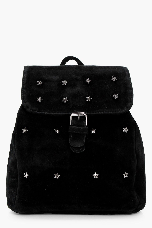 Star Embellished Suedette Rucksack - black - Lola