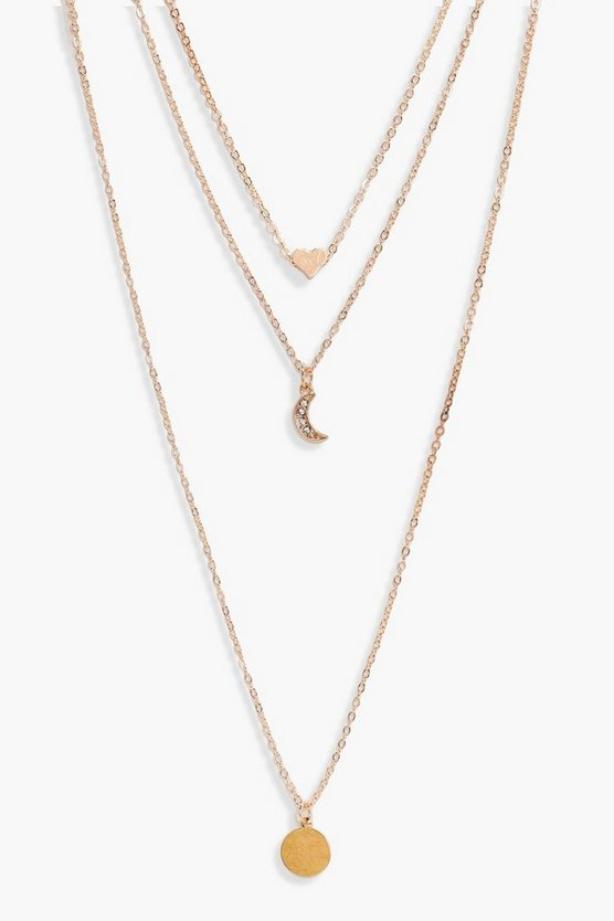 Kirsten Layered Moon Charm Necklace