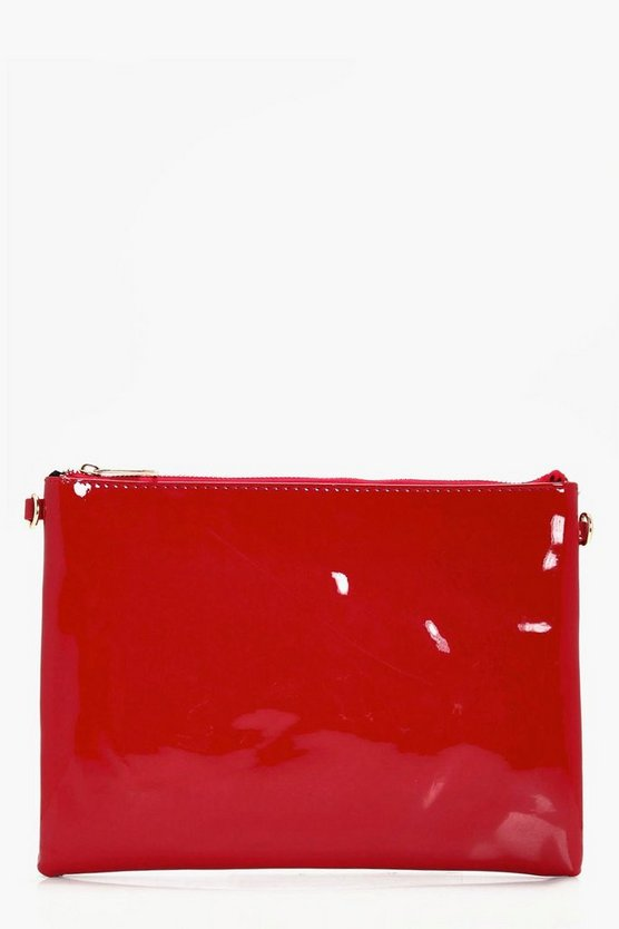 Faye Patent Zip Top Clutch