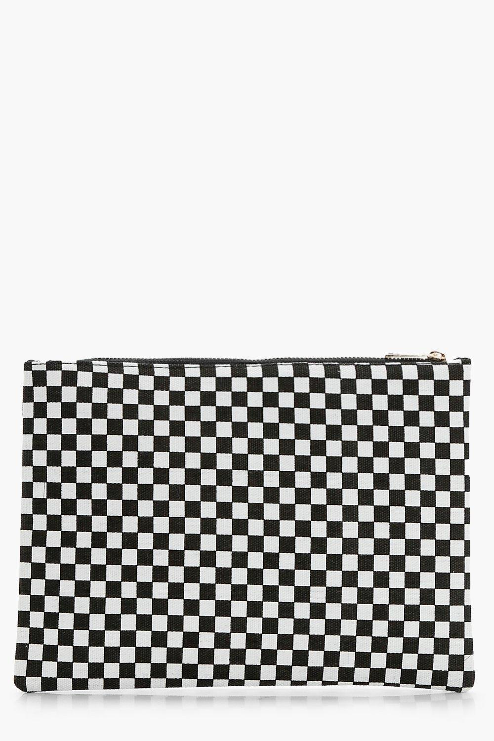 Check Zip Up Clutch - black - Gracie Check Zip Up