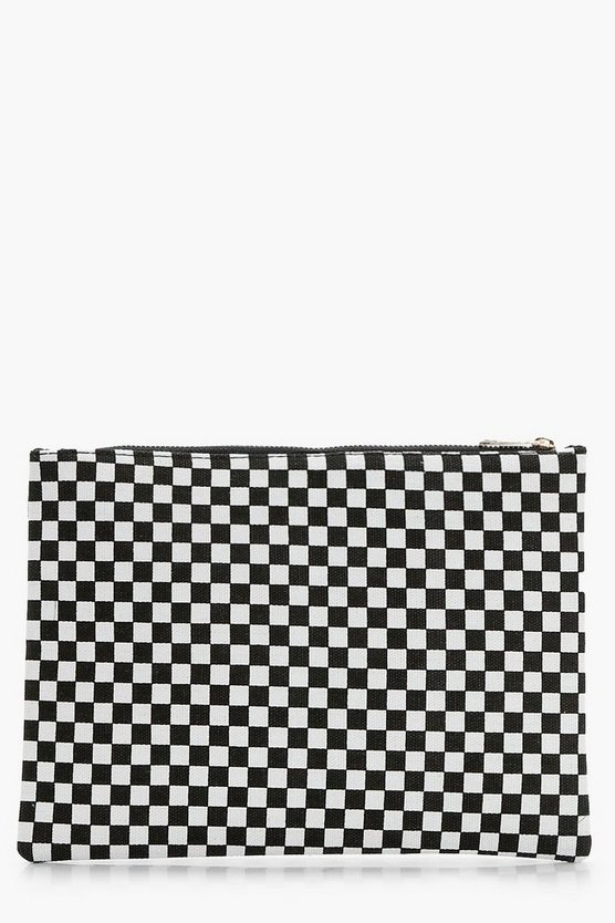 Gracie Check Zip Up Clutch