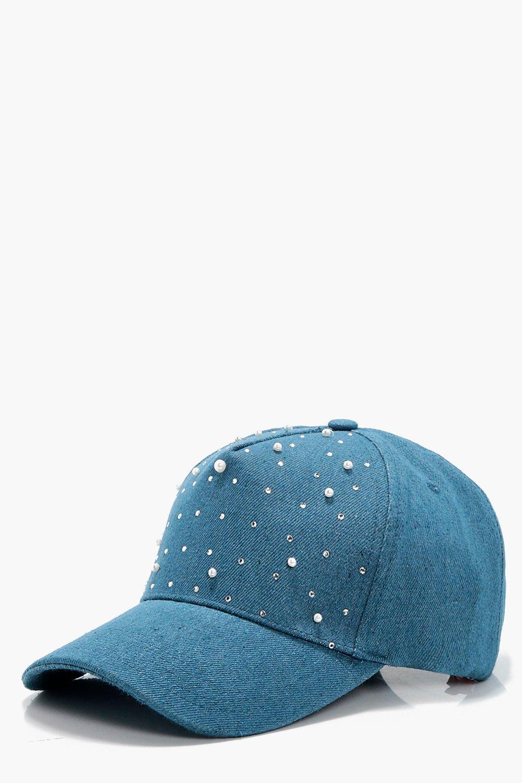 Pearl Embellished Denim Cap - blue - Patsy Pearl E