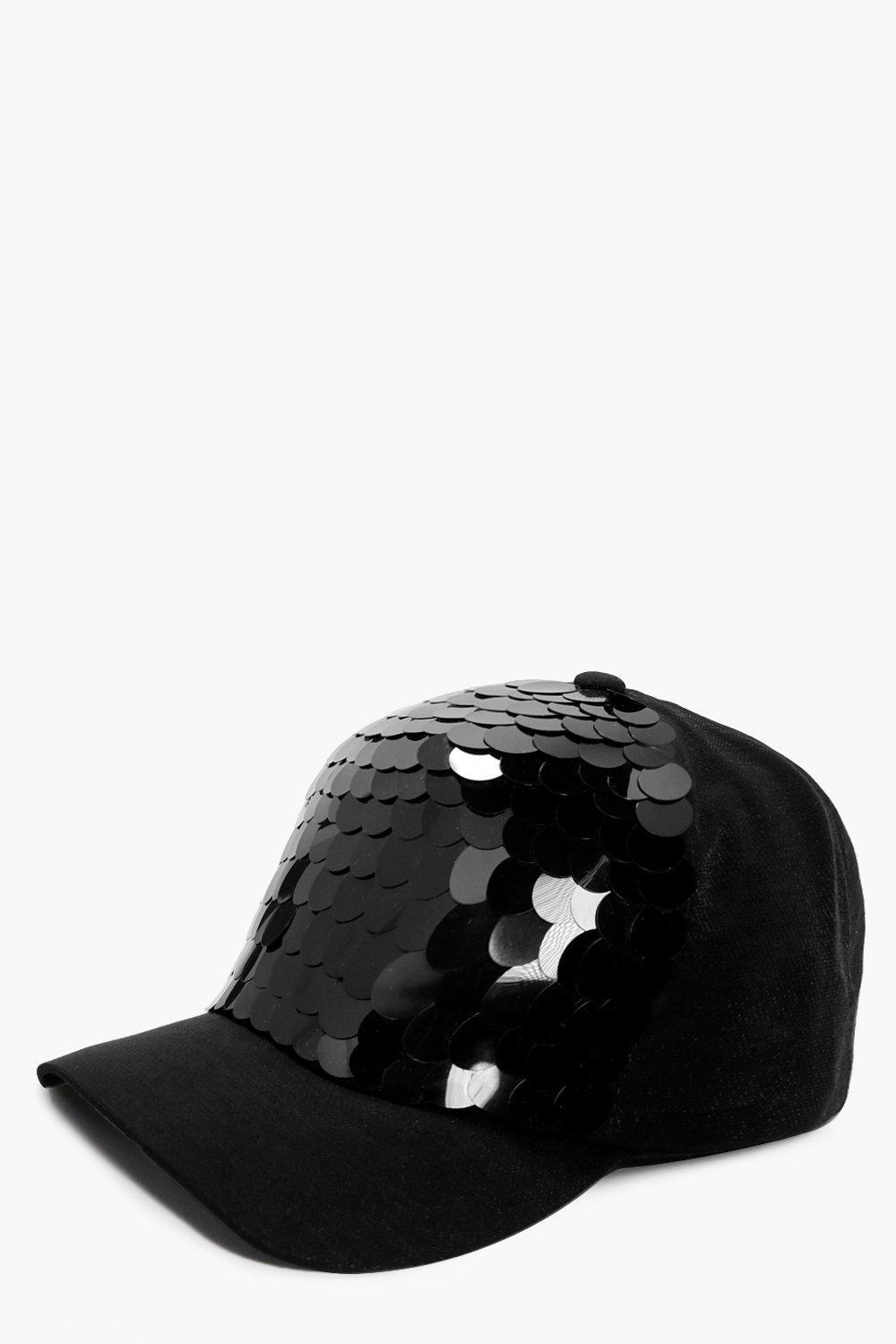 Large Sequin Baseball Cap - black - Lucille Large