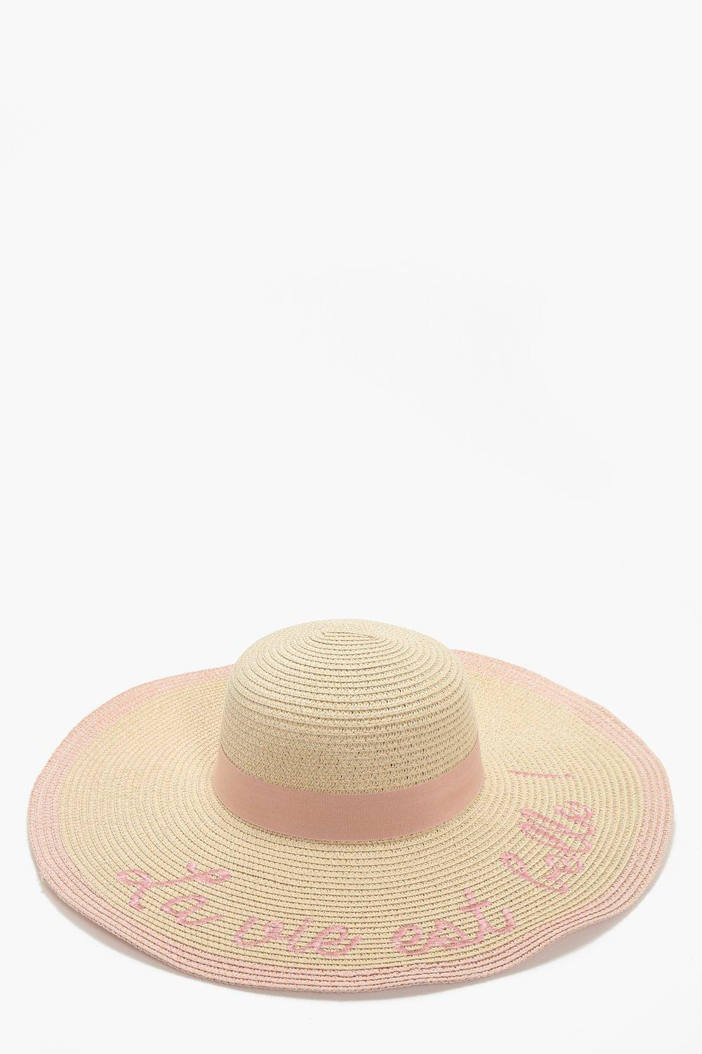 Slogan Summer Floppy Hat - natural - Sally Slogan