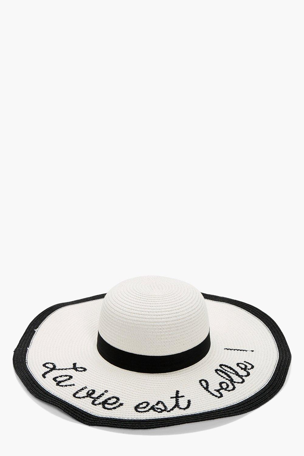 Slogan Summer Floppy Hat - white - Sally Slogan Su