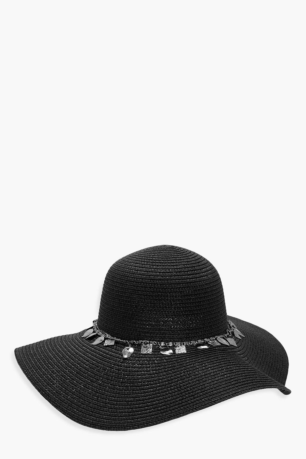 Coin Trim Floppy Hat - black - Alia Coin Trim Flop