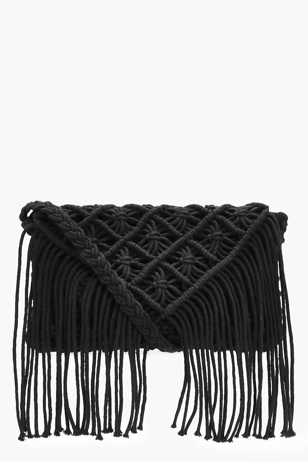 Crochet Tassel Cross Body Bag - black - Alex Croch