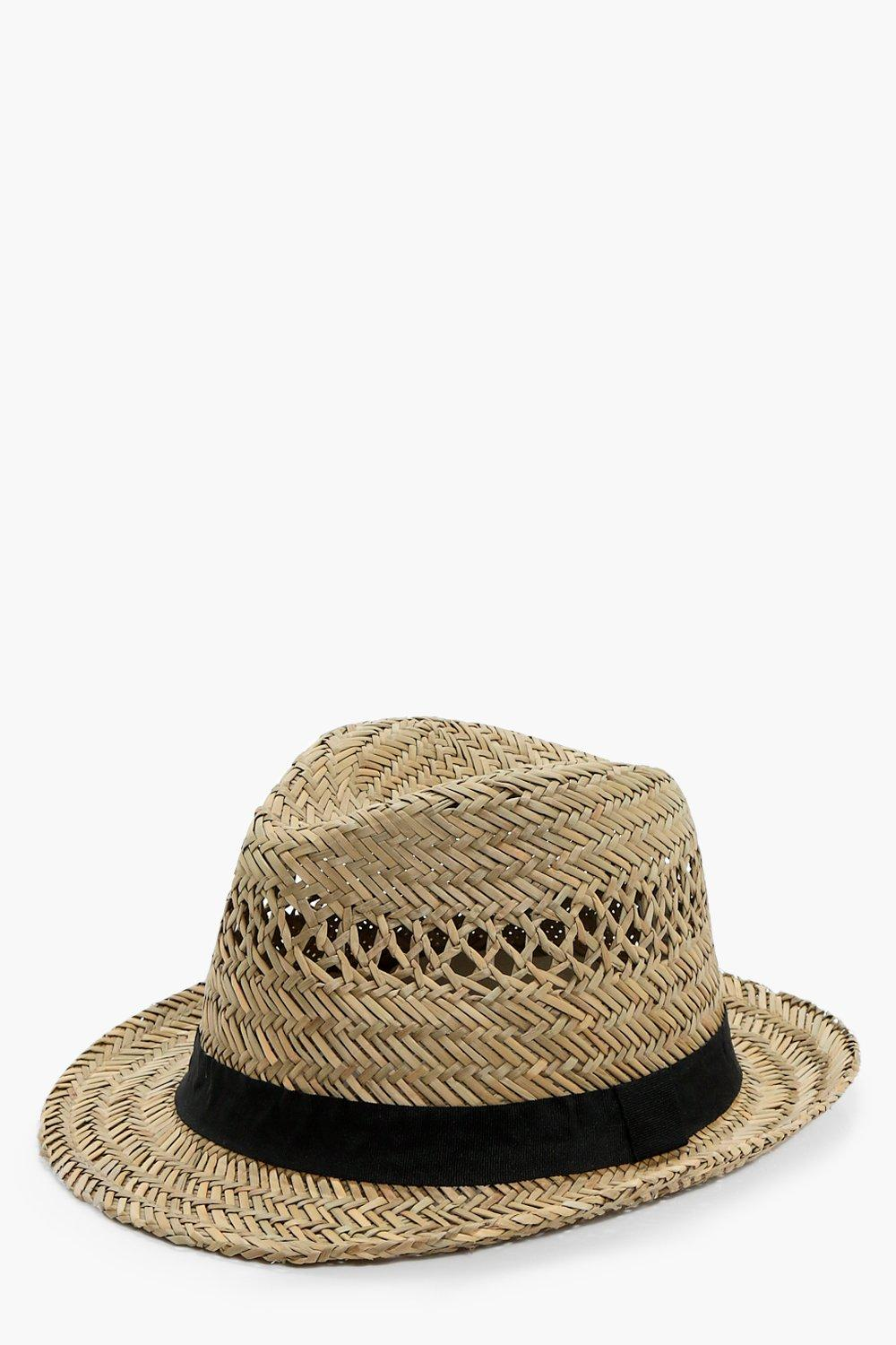 Gros Grain Band Straw Trilby Hat - natural - Kate