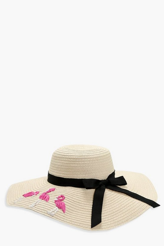 Sarah Flamingo Straw Floppy Hat