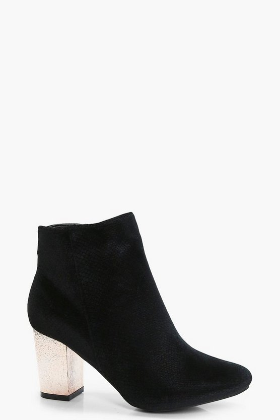 Alice Snake Velvet Gold Block Heel Boot