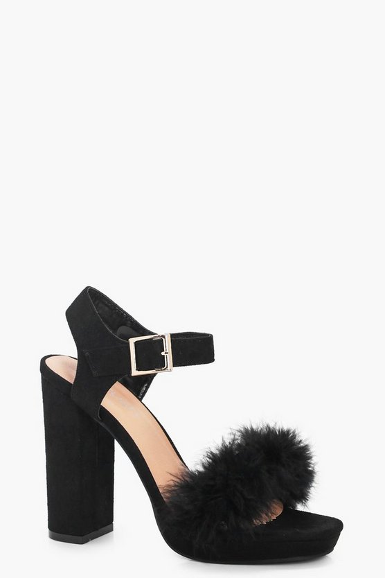 Laura Feather Trim Platform Heels