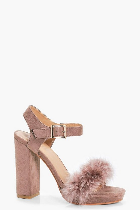 Lola Feather Trim Platform Heels