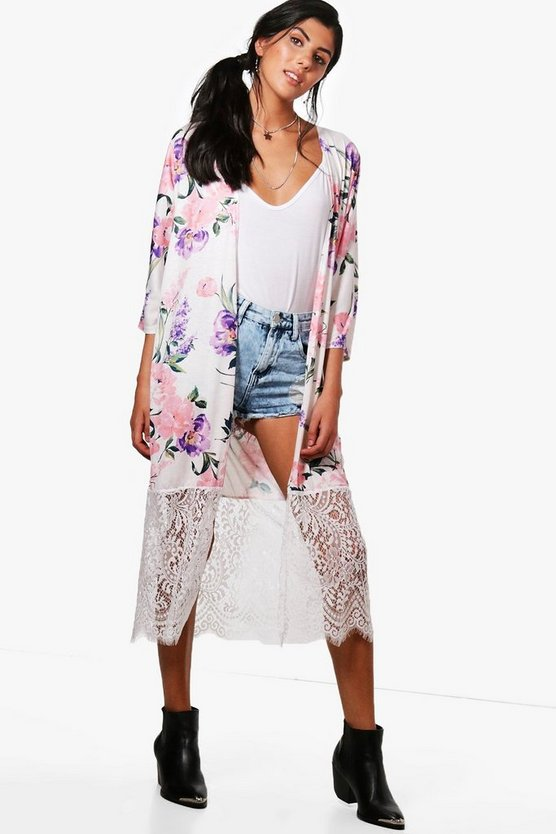 Erin Floral Kimono With Lace Hem
