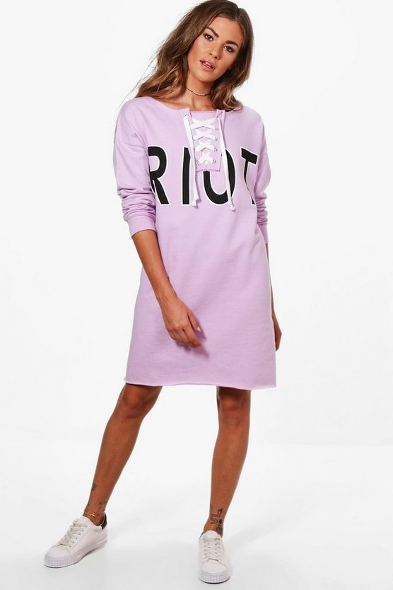 Rosie Slash Neck Lace Up Sweat Dress