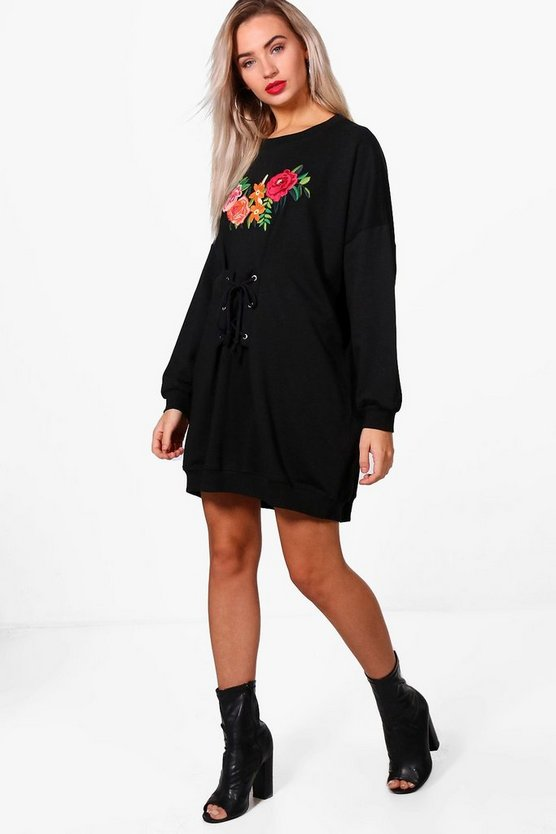 Hannah Embroidered Corset Sweat Dress