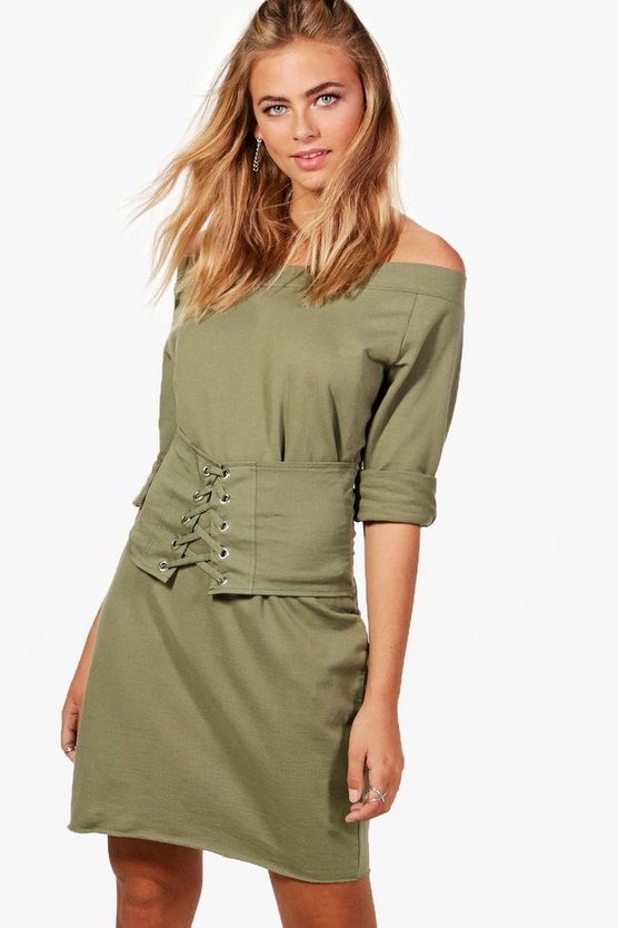 Jess Off Shoulder Corset Sweat Dress