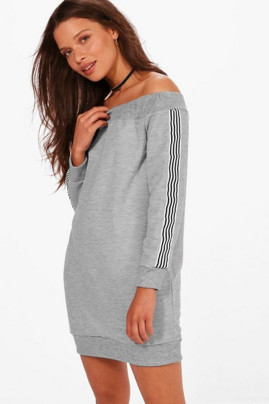 Em Off Shoulder Stripe Detail Sweat Dress