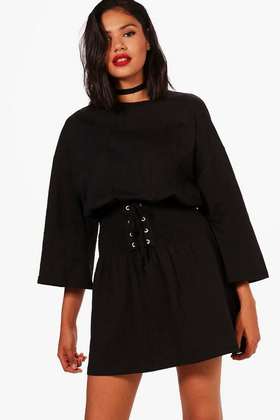 Alison Shirred Corset Belt T-Shirt Dress