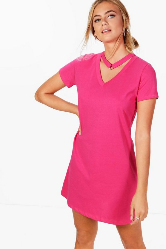 Natalie Oversized T-shirt Dress With Choker