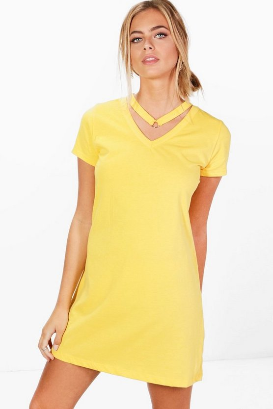 Oversized T-shirt Dress With Choker