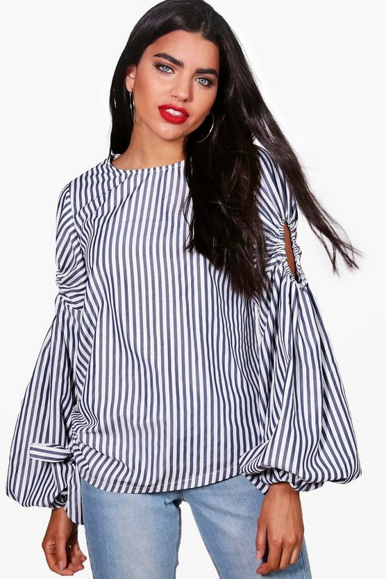Neave Striped Balloon Sleeve Ruched Side Top
